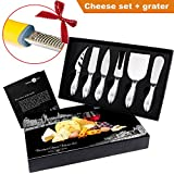 Exclusive 7-Piece Cheese Knife gift set + Bonus Cheese Grater- 6 Cheese knives - Complete Stainless Steel Cheese Knives Collection - Best Cutlery Set by Stanley Fox