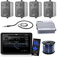 Pyle PLRVST300 RV Wall Mount Bluetooth CD/DVD Receiver Bundle Combo With 4x Enrock 4 200-Watt Waterproof Stereo Box Speaker + Radio Antenna + 400 Watt Amplifier + 16G 50-FT Wire