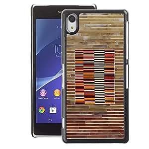 A-type Arte & diseño plástico duro Fundas Cover Cubre Hard Case Cover para Sony Xperia Z2 (Pattern Wood Brick Lines Horisontal)