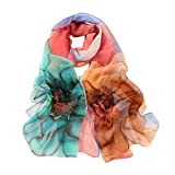 Ikevan Hot Selling Newset Women Lady Warm Shawl Rainbow Color Flower Scarf Soft Voile Shawl Wrap Large Scarves Spring Summer Autumn Winter 160x50cm (Green)