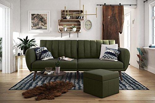 Novogratz Brittany Sofa Futon, Premium Linen Upholstery and Wooden Legs, Green ()