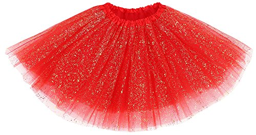 Women's Vintage Triple Layered Tulle Dress-up Tutu Skirt w/ Sparkling Sequin,Red (Dress Up Womens)
