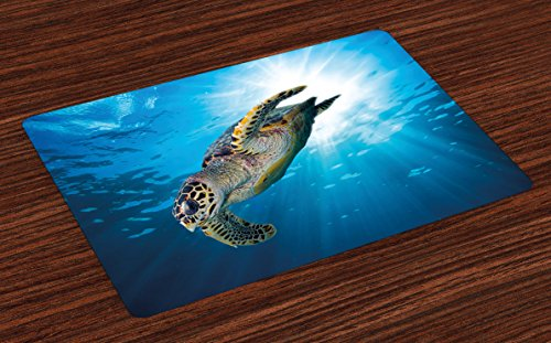 - Ambesonne Turtle Place Mats Set of 4, Hawksbill Sea Turtle Dive Deep Into The Blue Ocean Against Sun Rays, Washable Fabric Placemats for Dining Room Kitchen Table Decor, Yellow Brown Aqua Blue