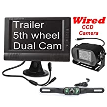 """4UCam Wired 7"""" LCD Digital Monitor + TWO Cameras - one license plate backup camera, one Rear View CCD RV Bus Camera"""