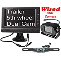 4UCam Wired 7 LCD Digital Monitor + TWO Cameras - one license plate backup camera, one Rear View CCD RV Bus Camera