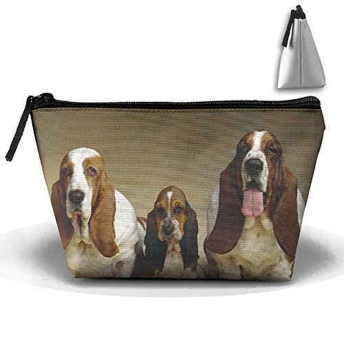Trapezoidal Bag Makeup Bag Basset Hound Three Dogs Storage Portable Travel Wash Tote Zipper Wallet Handbag Carry Case]()