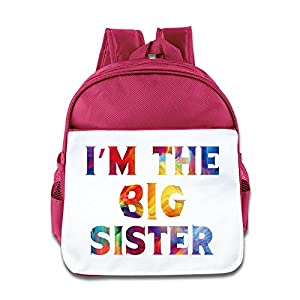 I Am The Big Sister Kids Backpack Boys Girls School Bag(two Colors:pink Blue) Pink