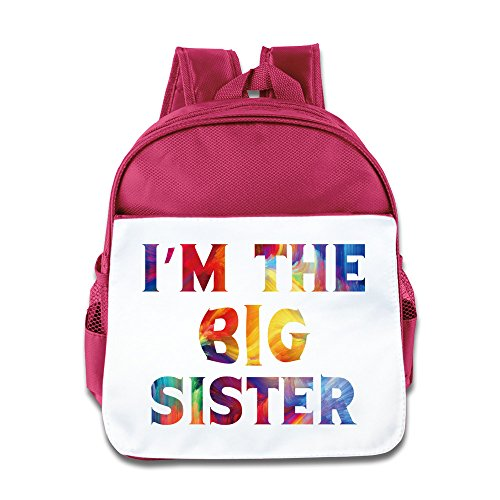 I Am The Big Sister Kids Backpack Boys Girls School Bag(two Colors:pink Blue) Pink ()