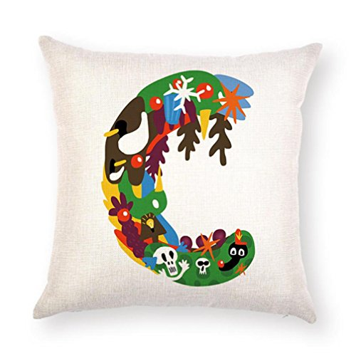 GBSELL Pillow Cover A-Z Alphabet Letter Throw Pillow Case Cafe Home Party Christmas Halloween Decor Cushion (C) ()