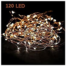 Starry String Lights Warm White Color LED's on a Flexible Copper Wire - LED String Light with 120 Individually Mounted LED's, 40ft