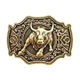 QUKE Bronze Long Horn Bull Rodeo Western Cowboy Belt Buckle Men