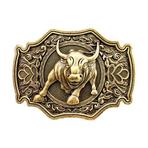 QUKE Bronze Long Horn Bull Rodeo Western Cowboy Belt Buckle For Men