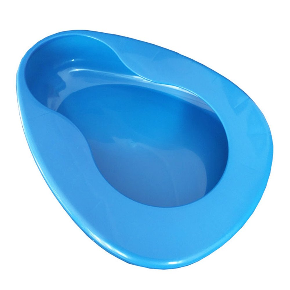 YUMSUM Firm Thick Stable PP Bedpan Heavy Duty Smooth Countoured for Bed-Bound Patient (Blue)