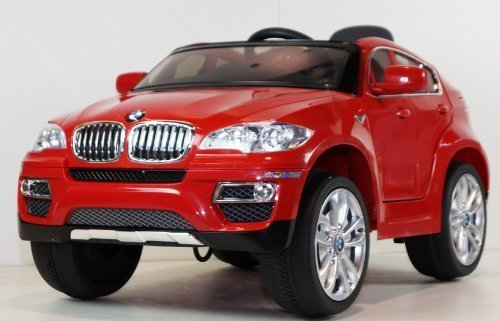 amazoncom children ride on electric car red bmw x6 license battery ride on wheel motorized dynamic rc toy bonus leather seat toys games