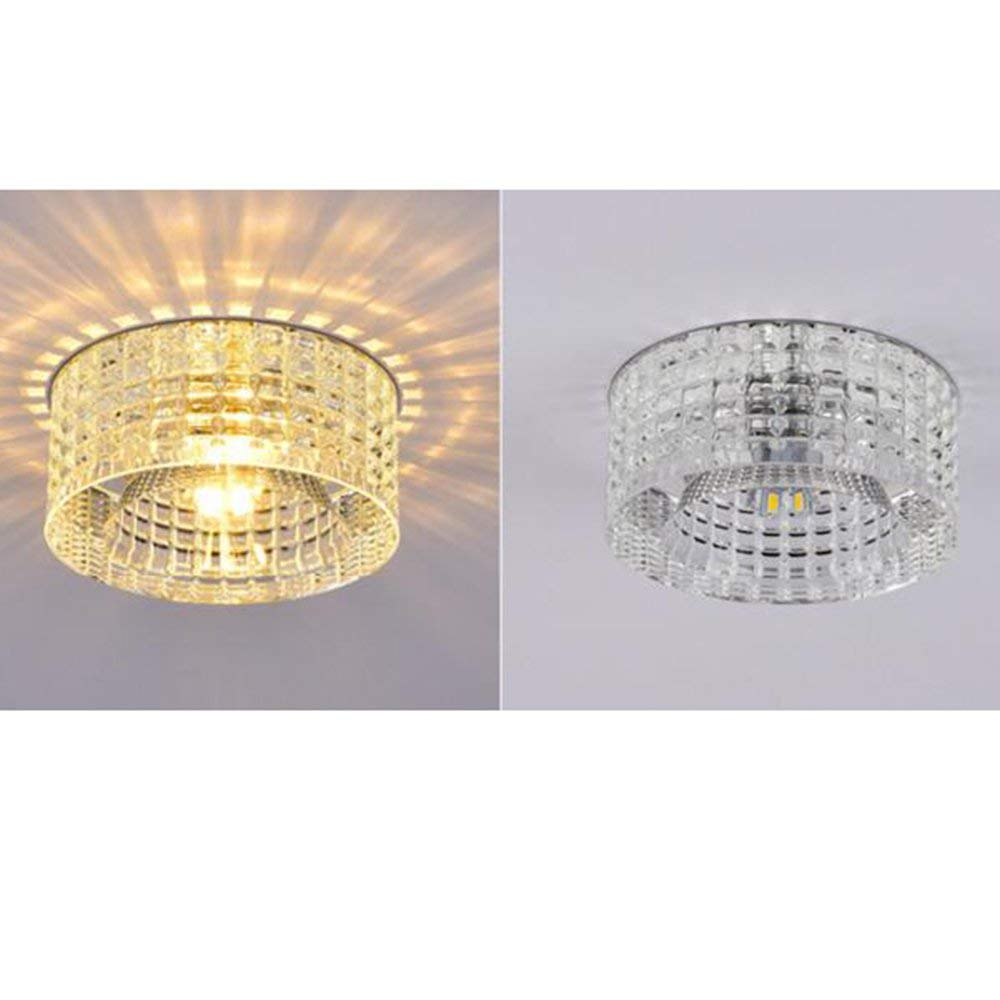 PLLP Living Room Bedroom Corridor Lighting, Household Ceiling Light Crystal Led 5W Ceiling Light Flush Mount Wall Lights Led Integrated Modern Feature for Led Bulb Included Ambient Light Warm Light