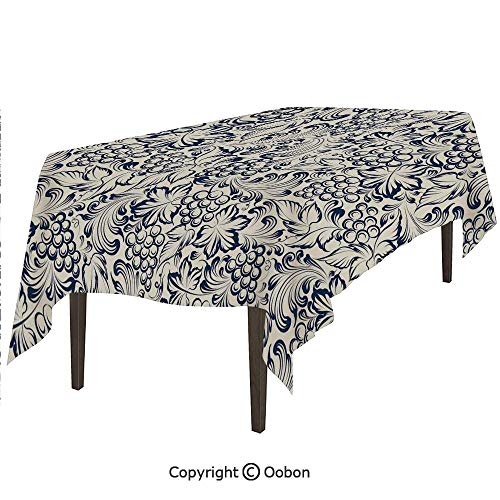 oobon Space Decorations Tablecloth, Vintage Style Grapes Vineyard Orchads Pattern Invitation Card Design Retro Image Sketch, Rectangular Table Cover for Dining Room Kitchen, W60xL84 inch -