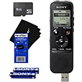 Sony ICD-PX440 Stereo IC MP3 Digital Voice Recorder Built-in 4GB and Direct USB + 8GB MicroSDHC Memory Card + AAA Batteries & HeroFiber Ultra Gentle Cleaning Cloth