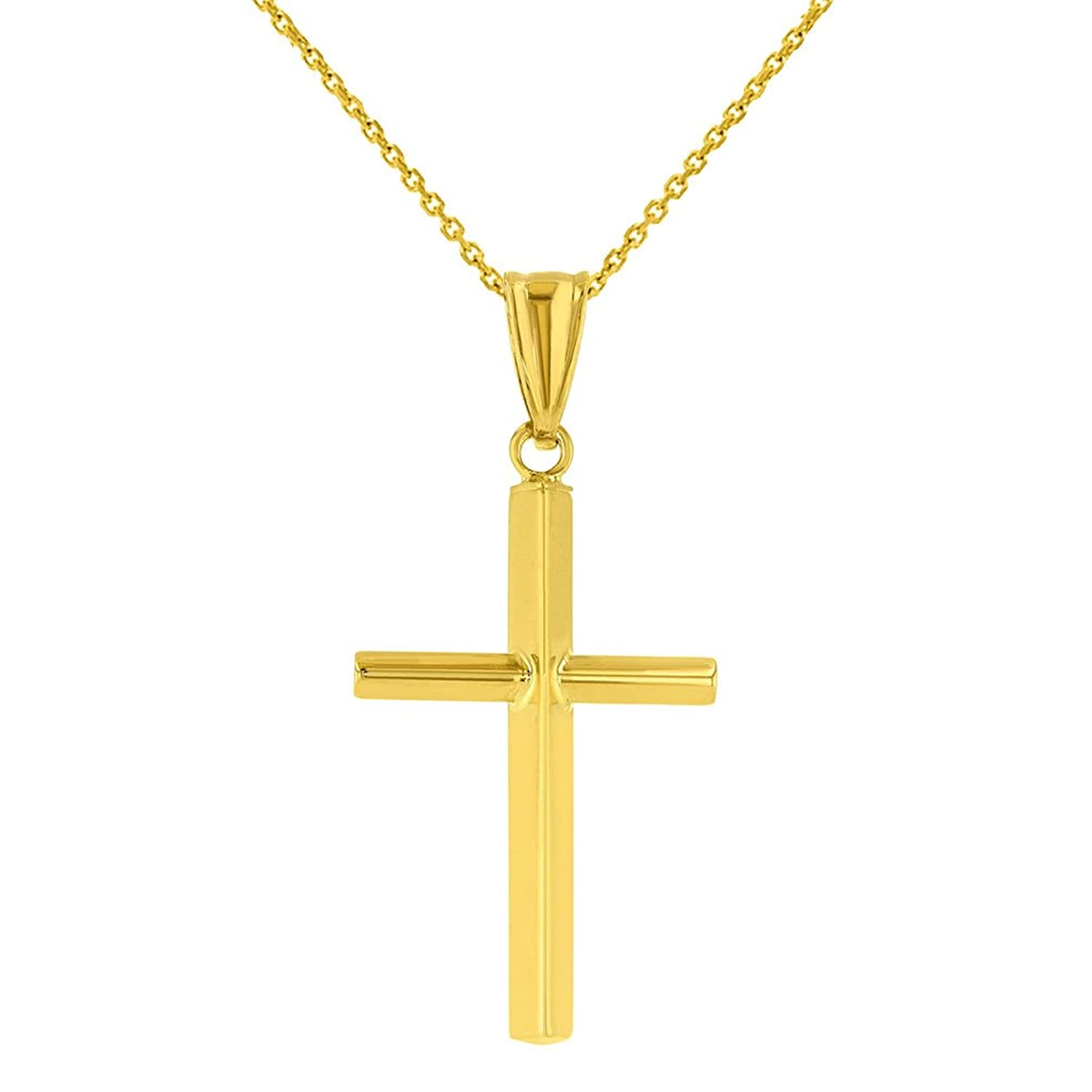 Give him a mens gold cross necklace to honor his faith high polished 14k yellow gold plain slender cross pendant with chain necklace aloadofball Choice Image