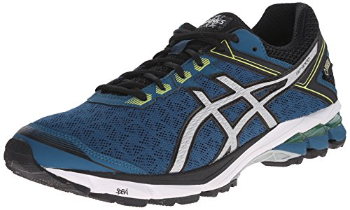 ASICS Men's GT 1000 4 G TX Running Shoe, Mosaic Blue/Silver/Lime, 13 M US