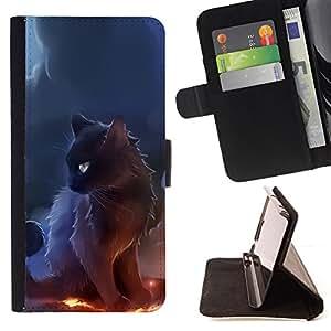 - Black Majestic Cat/ Personalizada del estilo del dise???¡¯???¡Ào de la PU Caso de encargo del cuero del tir???¡¯????n del s - Cao - For Samsung Galaxy S