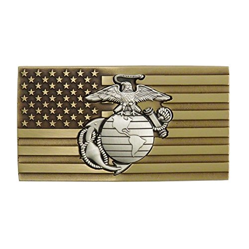 (Indiana Metal Craft US Marine Corps Solid Brass Belt Buckle with Embedded Pewter EGA Emblem. Made in USA.)