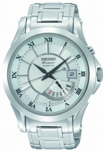 Premier White Dial (Seiko Premier Kinetic Perpetual Calendar Mens Watch SRN001)