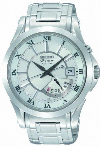 Dial Premier White (Seiko Premier Kinetic Perpetual Calendar Mens Watch SRN001)