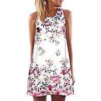 SRYS 2017 Summer Vintage Boho Women Summer Sleeveless Beach Printed Short Mini Dress