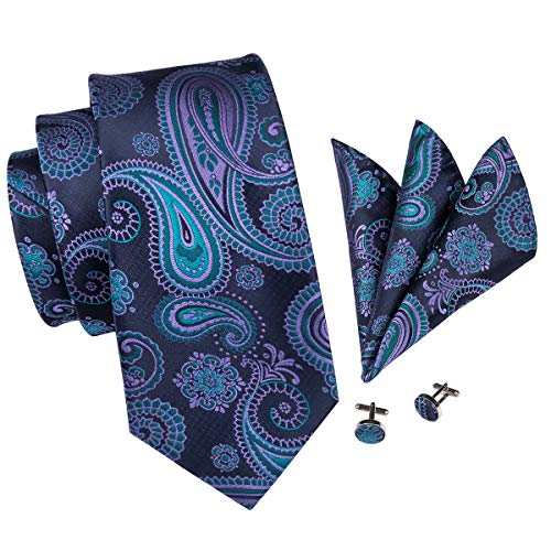 - Hi-Tie Purple Blue Paisley Tie Handkerchief Woven Classic Men's Necktie & Pocket Square Set