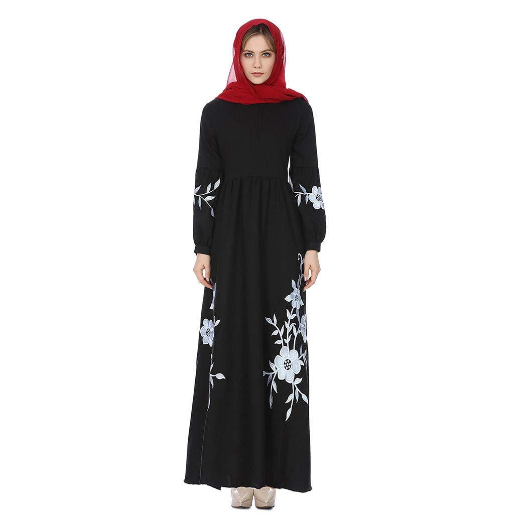 Women's Vintage Maxi Dress, Ladies Long Sleeve Islamic Chiffon Middle East Abaya Jilbab Embroidered Muslim Dress