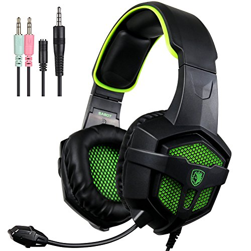 Gaming Headset, SADES SA-807 Xbox one PC PS4 Gaming Headphone 3.5mm Plug Wired Stereo Over ear Headphones For Multi-Platform with Mic Volume Control Black Green