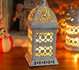 HOMEE European Retro Iron House Wind Lamp Candlestick Home Decoration Wedding Candle Taiwan Props Ornaments,Gray,9.5 9.5 21cm