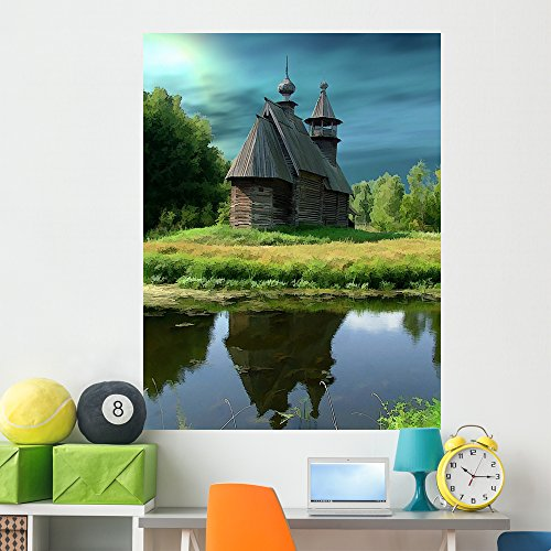 Wallmonkeys Russia Kostroma Museum Wooden Wall Mural Peel and Stick Graphic (60 in H x 45 in W) WM160077 ()