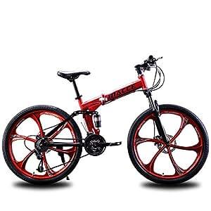 Unisexo Bicicleta de montaña de doble suspensión 26 pulgadas Rueda integral 21 velocidad 24 velocidades 27 velocidad Acero de alto carbono Estudiante Ciudad del viajero Bicicleta plegable,Red,27Speed