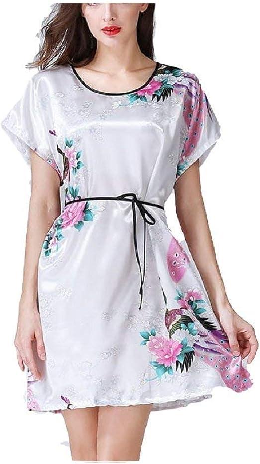 Camisa De Mujer De Manga Corta con Estampado Floral De Satén Vestido Basic De Pijama con Un Elegante Camisón De Verano Pijamas De Dormir Ropa (Color : Blanco, Size : M): Amazon.es:
