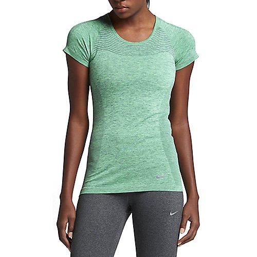 Nike Dri-Fit Knit Short Sleeve - Top de manga corta para mujer verde resplandor