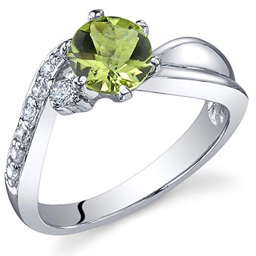 carats Peridot Ring in Sterling Silver Rhodium Nickel Finish Size 8 (Genuine Birthstone Ring)