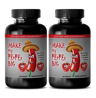 MAKE MY PEPPER BIGGER PILLS - Sexual pleasure for men - Tribulus, Ginseng, Maca natural supplement - 2 Bottles 120 capsules