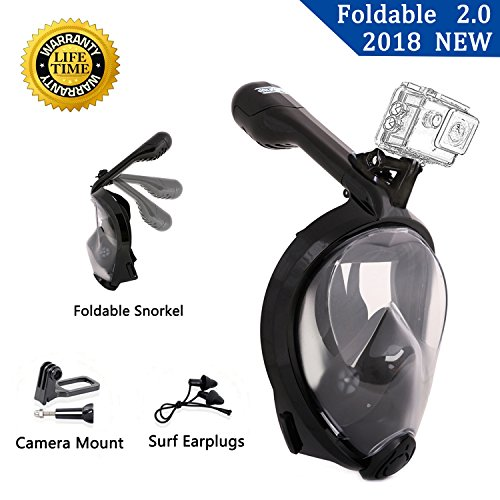 JOYOUTH Full Face Snorkel Mask 2.0 Foldable Full Face Snorkeling Diving Scuba Mask with Detachable GoPro Mount, 180°Panoramic Easy Breath Anti-fog Anti-leak for Adults Youth (Small, Black)