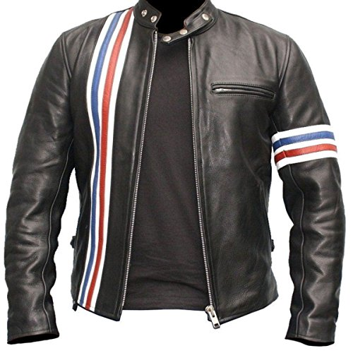 Peter Fonda American Biker Striped Black Real Leather Jacket Vintage Retro (XL)