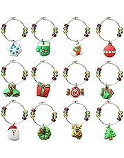 12 piezas de encantos de copa de vino, CNYMANY PVC con temática navideña Marcadores de bebidas Etiquetas para Navidad Cóctel de vino Champaña Fiesta de degustación Favores Regalos