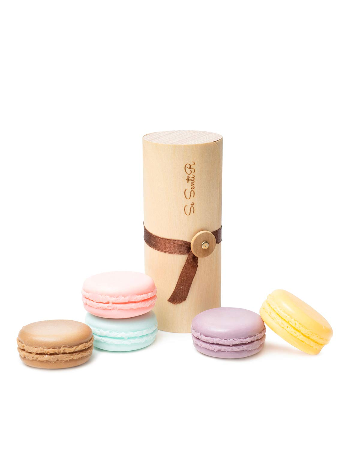 Deluxe Macaron Soap Gift Set of 5 - holiday Gifts for Women - Wife Mom Daughter Girlfriend – Aromatherapy Natural Soap Set in wood Scroll Box – Mothers Day Wedding Favors Idea Gag Gift (Set of 5)