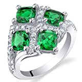 2 Carat Simulated Emerald Sterling Silver Quad Ring Size 6