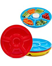 Plastic Serving Platter, Divided Food Tray with 5 Compartments (6 Pack)