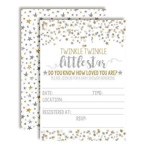 Gold & Silver Twinkle Little Star Baby Shower Invitations for Girls or Boys, 20 5