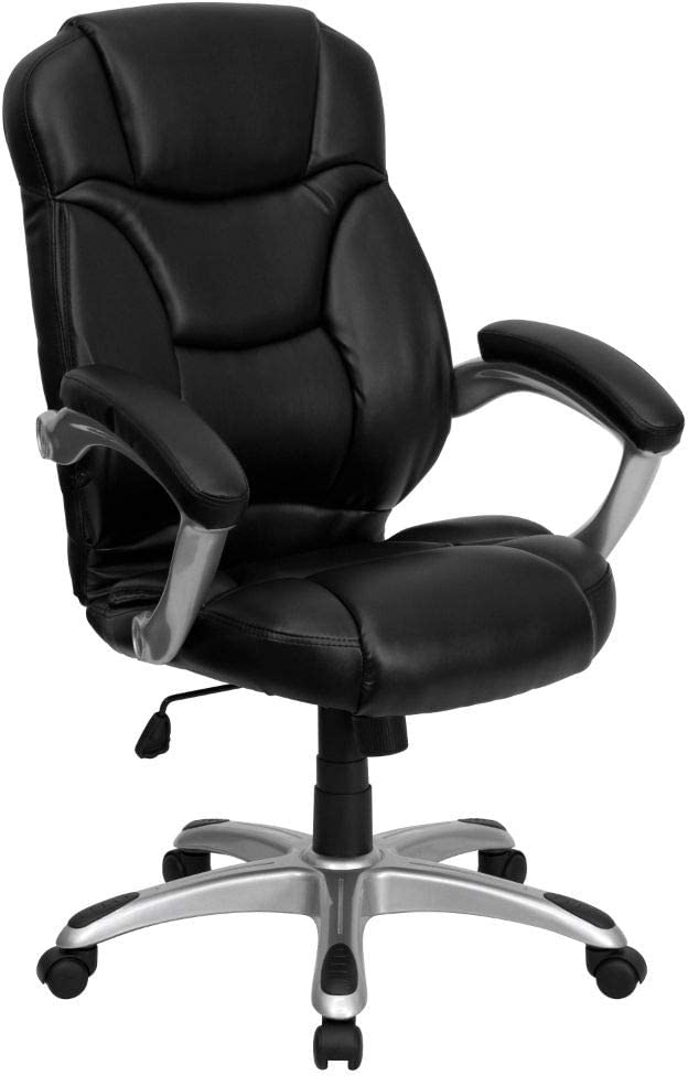Flash Furniture High Back Black LeatherSoft Contemporary Executive Swivel Ergonomic Office Chair with Silver Nylon Base and Arms