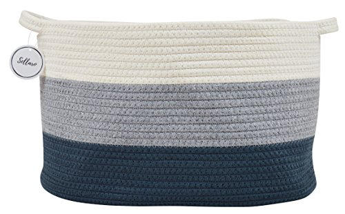 "Cotton Rope Basket for Storage and Organization in Baby Nursery or Kids Room | Large 16"" x 11"" x 10"