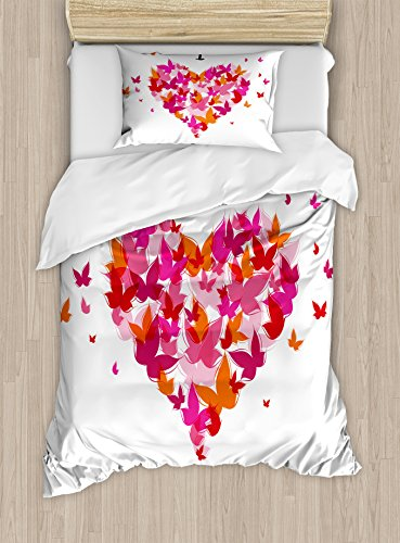 Ambesonne Love Decor Duvet Cover Set, Stylish Heart Figure Filled with Butterflies Soul Mate Real True Deep My Dear Valentines, 2 Piece Bedding Set with Pillow Sham, Twin/Twin XL, Multi