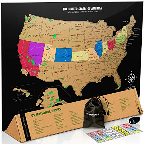 Landmass Scratch Off USA Map Poster - Scratch Off Map of The United States - 17 x 24 inches - US National Parks, State Capitals, Peaks and Highways (Best States For Hiking)