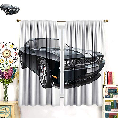 Anniutwo Cars Blackout Curtain Black Modern Pony Car with White Racing Stripes Coupe Motorized Sport Dragster Room Darkening Curtains Black Grey White W55 x L72 inch